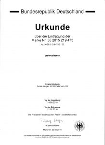 Certificate of word mark 'protocolbench'