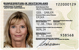 Front page of German ID card (Personalauswweis) compliant to TR-03105 Part 3.3
